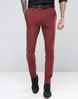 Asos Super Skinny Suit Pants In Dark Red