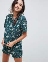 Asos Design Safari Print Woven Short Pyjama Set In 100% Modal