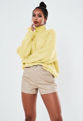 Missguided Premium Lemon Oversized Turtle Neck Sweater
