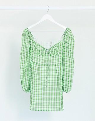 Stradivarius mini dress in green check