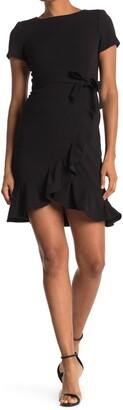 Calvin Klein Ruffle Trim Waist Tie Dress