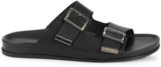 Massimo Matteo Double-Buckle Perforated Leather Slides