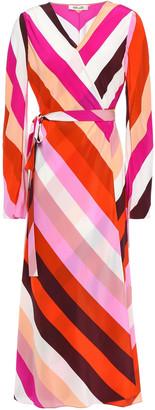 Diane von Furstenberg Tilly Striped Silk Crepe De Chine Midi Wrap Dress
