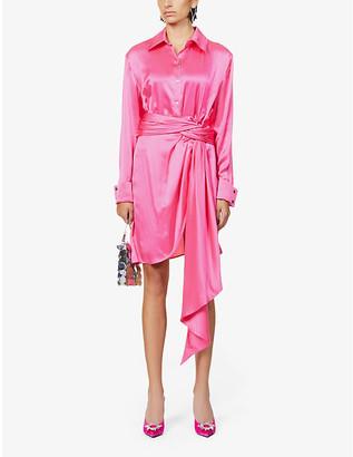 Redemption Asymmetric silk shirt dress