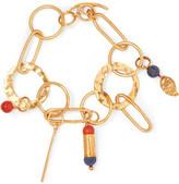 Diane von Furstenberg Hammered Gold-Tone And Glass Bracelet