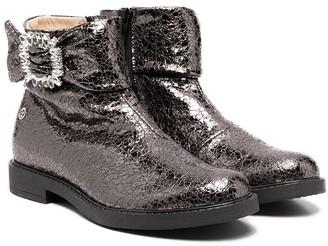 Florens TEEN metallic cracked-effect boots
