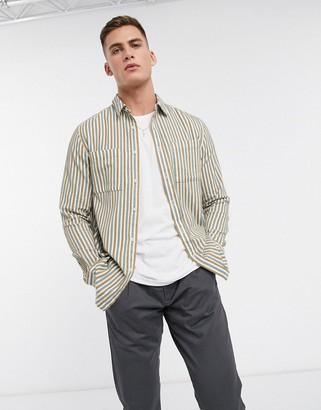 Topman shirt in gray & blue stripe