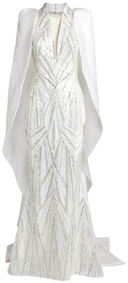 Mikael D Caped Sequin Gown