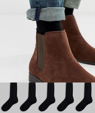 Asos Design DESIGN 5 pack ankle sock in black save