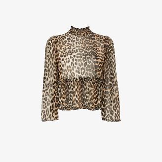 Ganni High neck leopard print blouse