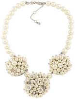 Carolee Silver-Tone Imitation Pearl and Crystal Cluster Necklace