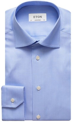 Eton Contemporary-Fit Houndstooth Cotton Dress Shirt