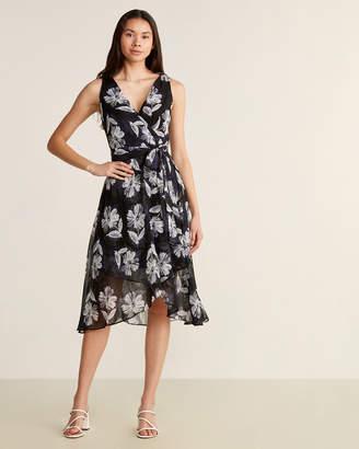 Tommy Hilfiger Black & Ivory Chalk Flower Chiffon Dress