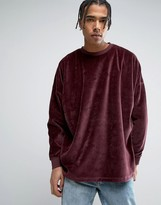Asos Extreme Oversized Sweatshirt In Burgundy Velour