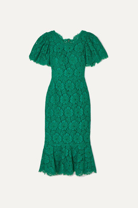 Dolce & Gabbana Ruffled Corded Lace Midi Dress - Green