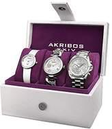 Akribos XXIV Women's AK738SS Analog Display Swiss Quartz Silver Watch Set