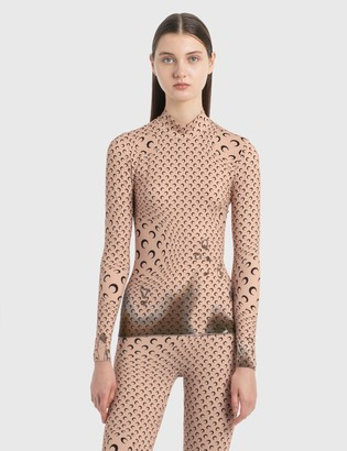 Marine Serre Second Skin Printed Turtleneck Top