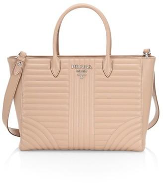 Prada Large Diagramme Leather Tote Bag