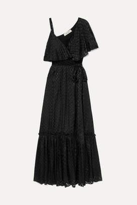 Diane von Furstenberg Ella Asymmetric Devore-satin Wrap Maxi Dress - Black