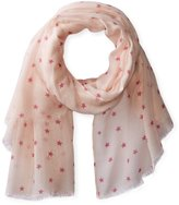 Jules Smith Designs Women's Star Printed Lightweight Scarf with Raw Hem