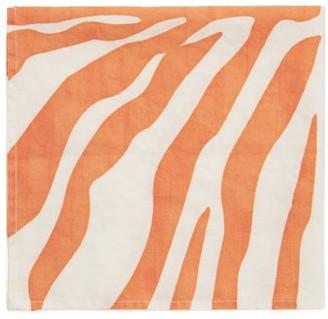 Summerill & Bishop - Set Of Four Zebra-print Linen Napkins - Orange