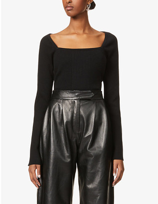 Frame Luxe flared-sleeve silk and cotton-blend top