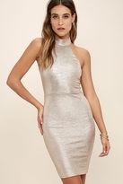 LuLu*s Diamond Heart Gold Bodycon Dress