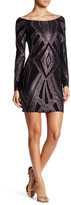 Jump Long Sleeve Geometric Glitter Dress