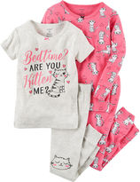 Carter's Girls 4-Pc. Cotton Sleep Pink Kitten Pant Set-Toddler