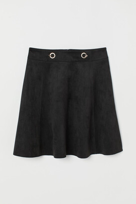 H&M Short Faux Suede Skirt - Black
