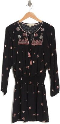 Love Stitch Peasant Neck Floral Print Dress