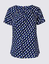 Marks and Spencer Pleat Front Geometrical Print Shell Top