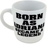 Fotomax Round mug with Born as ADRIANA, became a legend