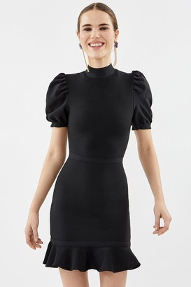 Coast Puff Sleeve Knitted Short Dress