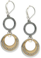 Nine West Tri-Tone Pavé Circle Double Drop Earrings