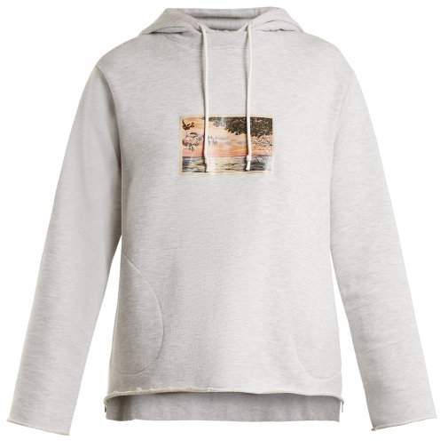 Golden Goose Sirrah Graphic Print Hooded Sweatshirt - Womens - Light Grey