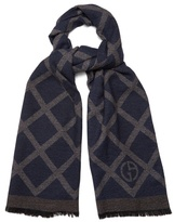 Giorgio Armani Crosshatch-print Wool And Silk-blend Scarf