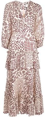 Alexis Tereasa abstract print midi dress