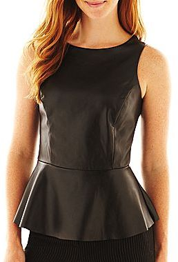 JCPenney Worthington® Faux-Leather Peplum Top