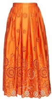 Rochas Broderie-anglaise structured midi skirt