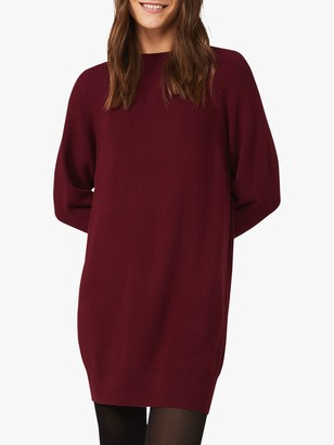 Phase Eight Nalani Knitted Mini Dress, Port