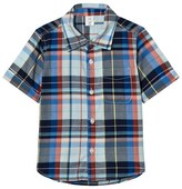 Gap Grey, Blue and Red Plaid Short Sleeve Shirt