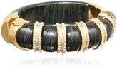 "Kara Ross KARA by Striped Resin, Ebony Resin and Gold with Crystals Bangle Bracelet, 2.25"""