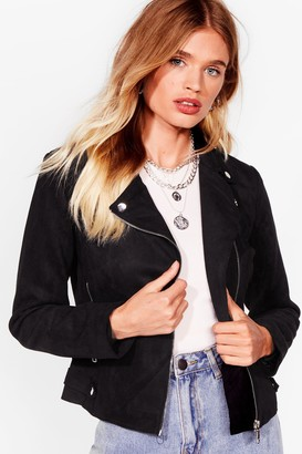 Nasty Gal Womens Ride On Faux Suede Moto Jacket - Black - S, Black