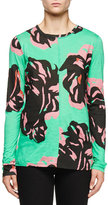 Proenza Schouler Long-Sleeve Abstract-Floral T-Shirt, Mint