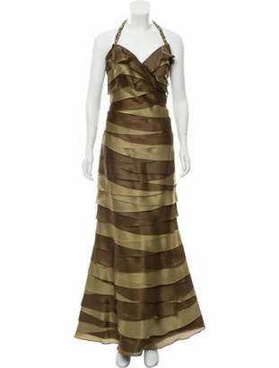 Roland Nivelais Silk Evening Dress Brown