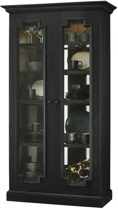 Howard Miller Chasman III Industrial, Farmhouse Chic, Contemporary, Black Solid Wood, Tall 5-Shelf, Living Room Cabinet