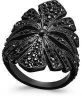 INC International Concepts Jet-Tone Pavé Floral Statement Ring, Only at Macy's