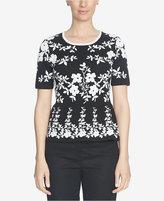 CeCe Floral Jacquard Peplum Sweater