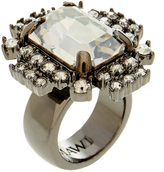 Mawi Geometric Silver Ring With Crystals
